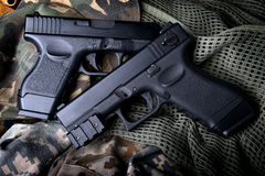 Pistal automatic short hand gun. Royalty Free Stock Image