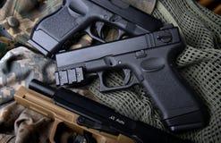 Pistal automatic short hand gun. Royalty Free Stock Photo