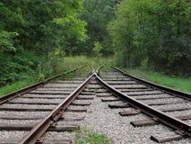 Pistas de ferrocarril convergentes abandonadas Fotografía de archivo libre de regalías