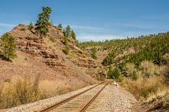 Pistas de ferrocarril de desaparición Imagen de archivo libre de regalías