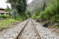 Pistas de ferrocarril de Machu Picchu Fotos de archivo libres de regalías