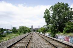 Pistas de ferrocarril en Detroit, Michigan fotos de archivo libres de regalías