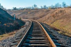 Pistas de ferrocarril oxidadas Fotos de archivo