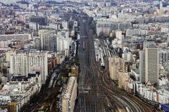 Pistas de ferrocarril París Foto de archivo