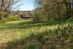 Pistas de ferrocarril que cruzan la cala grande de Elkin fotos de archivo libres de regalías