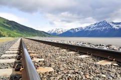 Pistas de ferrocarril que se ejecutan con paisaje de Alaska imagen de archivo libre de regalías