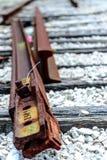 pistas de ferrocarril quebradas Foto de archivo libre de regalías