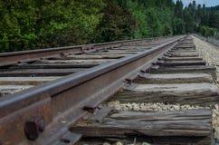 Pistas de ferrocarril silenciosas largas que extienden encendido y que esperan pacientemente imagen de archivo