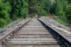 Pistas de ferrocarril silenciosas largas que extienden encendido y que esperan pacientemente imagen de archivo libre de regalías