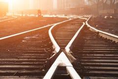 Pistas de ferrocarril vacías foto de archivo