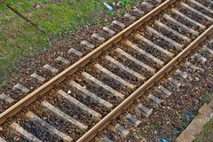 Pistas de ferrocarril viejas foto de archivo