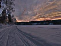 Pistas de la moto de nieve en un paisaje del invierno Fotografía de archivo libre de regalías