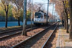 Pistas de la tranvía de Bucarest foto de archivo