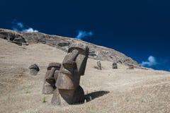 Pistas de Moai de la isla de pascua Imagen de archivo