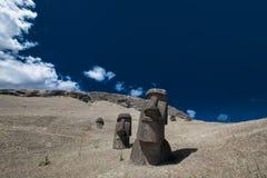 Pistas de Moai de la isla de pascua Foto de archivo