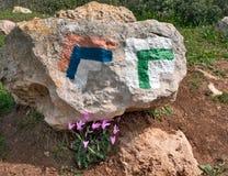 Pistas de senderismo de piedra del indicador. Rastro Israel. Foto de archivo