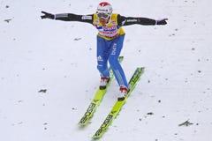Pistas de Simon Ammann del puente de esquí foto de archivo