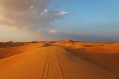 Pistas de vehículo en una duna Imagen de archivo