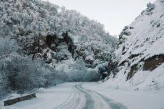 Pistas del camino y del coche de la nieve en el camino en el invierno en el Cáucaso del norte Árboles y montañas nevados El conce Foto de archivo