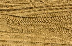 Pistas del neumático en la arena Fotos de archivo