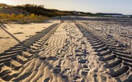 Pistas del neumático en la arena en el mar Báltico de la playa cerca del nde del ¼ de Warnemà foto de archivo libre de regalías
