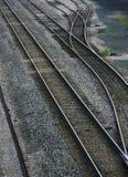 Pistas e interruptor de ferrocarril Imagen de archivo libre de regalías