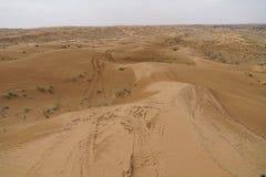 Pistas en el desierto árabe Fotos de archivo libres de regalías