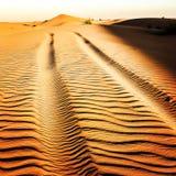 Pistas en el desierto Foto de archivo libre de regalías