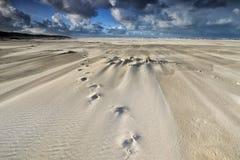 Pistas en la playa de la arena en día ventoso Imágenes de archivo libres de regalías