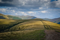 pistas 4x4 en una meseta en las montañas Fotos de archivo