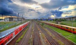 Pistas ferroviarias de Berlín Imágenes de archivo libres de regalías