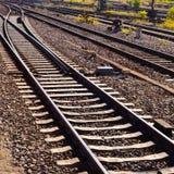 Pistas ferroviarias e interruptor imágenes de archivo libres de regalías