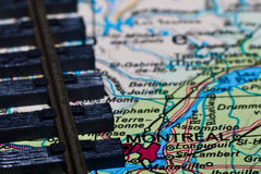 Pistas ferroviarias en la correspondencia de Montreal Fotografía de archivo