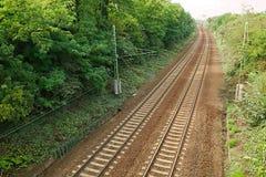 Pistas ferroviarias a la distancia Fotos de archivo