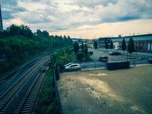 Pistas ferroviarias vacías foto de archivo libre de regalías