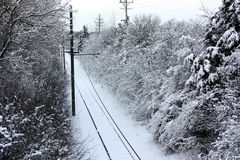 Pistas nevadas de la carretilla Imagen de archivo libre de regalías