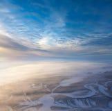 Pistas sísmicas en la visión llana del invierno, superior enselvada Fotos de archivo libres de regalías
