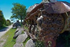 Pistas viejas del tanque Imagen de archivo