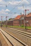 Pistas y señales de ferrocarril en Lingen Fotografía de archivo libre de regalías