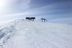 Piste in Alps, Zillertal in Austria. Top of the piste in Alps, Zillertal in Austria Royalty Free Stock Images