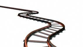 Piste curve del treno su fondo bianco illustrazione 3D royalty illustrazione gratis