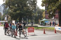 Piste cyclable à Santiago, Chili Image stock