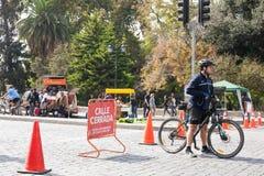 Piste cyclable à Santiago, Chili Photos stock