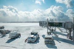 Piste d'aéroport de Hakodate en hiver le 10 février 2015 Image libre de droits
