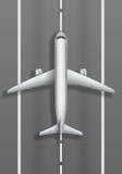 Piste d'atterrissage avec l'avion blanc Vue supérieure de maquette plate Conception d'affiche de publicité d'agence de voyages Il illustration de vecteur