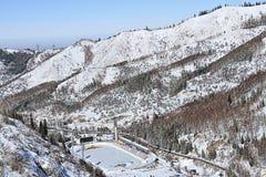 Piste de patinage de Medeo (Medeu) à Almaty, Kazakhstan Photographie stock