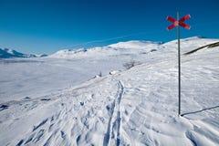 Piste de ski sur le Kungsleden Images libres de droits