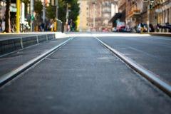 Piste del tram all'infinito Immagini Stock Libere da Diritti