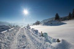 Piste del trattore nel paesaggio della neve Fotografia Stock