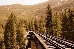 Piste del treno di ferrovia attraverso la campagna Immagini Stock